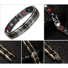 Black Men's Health Bracelets & Bangles Magnetic H Power Stainless Steel Charm Bracelet Jewelry for Man