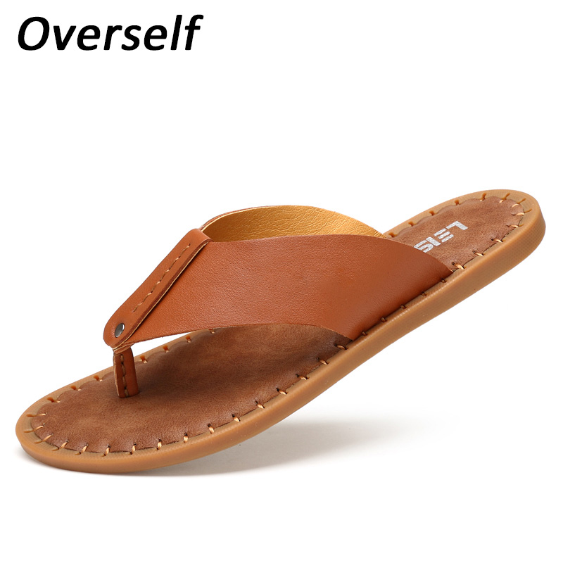 все цены на New Handmade Men Slippers Summer Shoes Leisure Fashion Footwear Plus Big Size 38-45 Slides Beach Sandals Male Slippers Zapatos онлайн