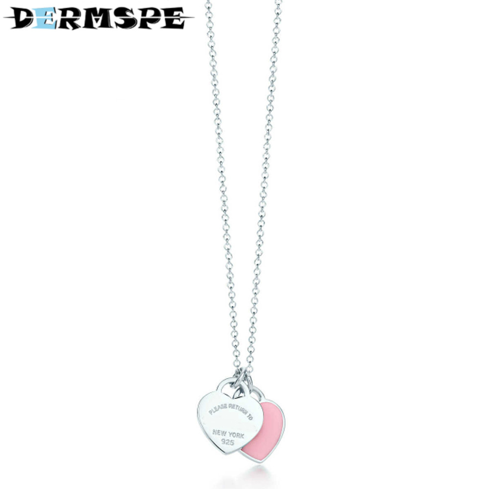 DERMSPE TIFF 925 Sterling Silver Pandent Women Jewelry Heart Necklace Pink Heart Jewelry Rose Gold Color Heart Love Necklace недорго, оригинальная цена