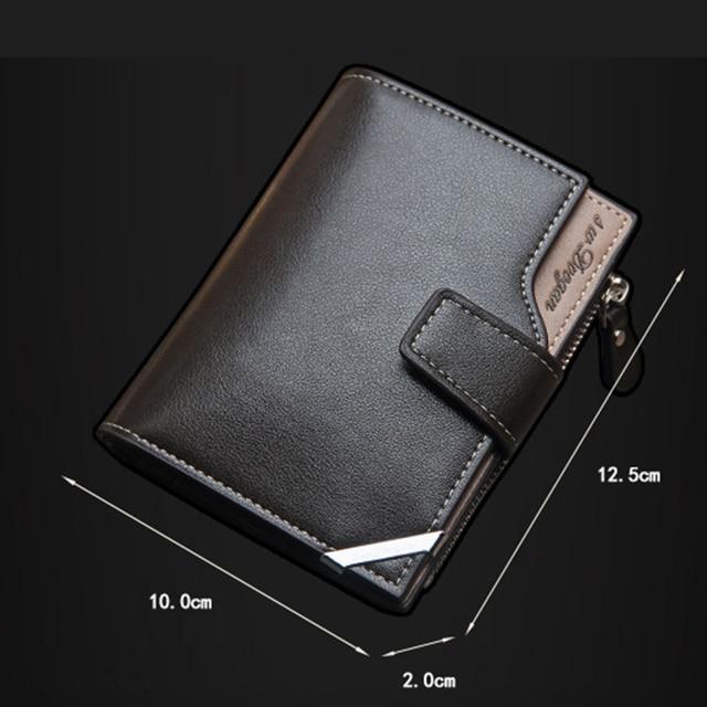New Korean Casual Men's Wallet Short Vertical Locomotive British Casual Multi-function Card Bag Zipper Buckle Triangle Folding 3