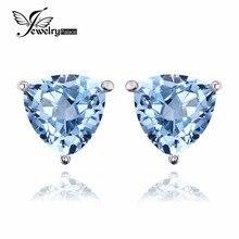 JewelryPalace Billones 1.9ct Sky Natural Topacio Azul Piedra Pura 925 Pendientes de Plata Esterlina Para Las Mujeres de Joyería de Moda