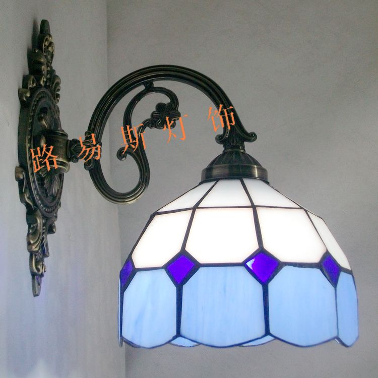 Simple zinc alloy Mediterranean blue modern glass wall lamp Tiffany mirror with front balcony bedroom bedside lighting modern lamp trophy wall lamp wall lamp bed lighting bedside wall lamp