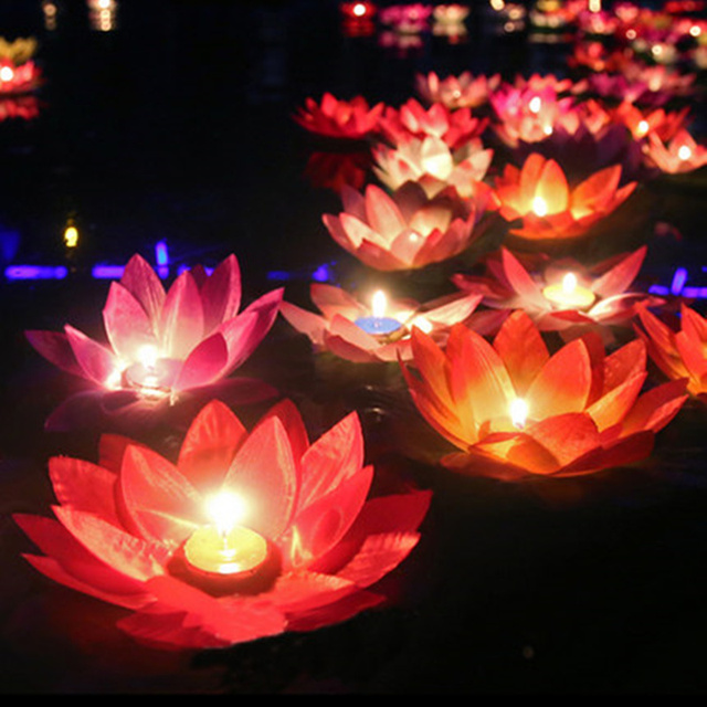 10pcs Multicolor Silk Lotus Lantern Light With Candle Floating Pool Decorations Wishing Lamp Birthday Wedding Party