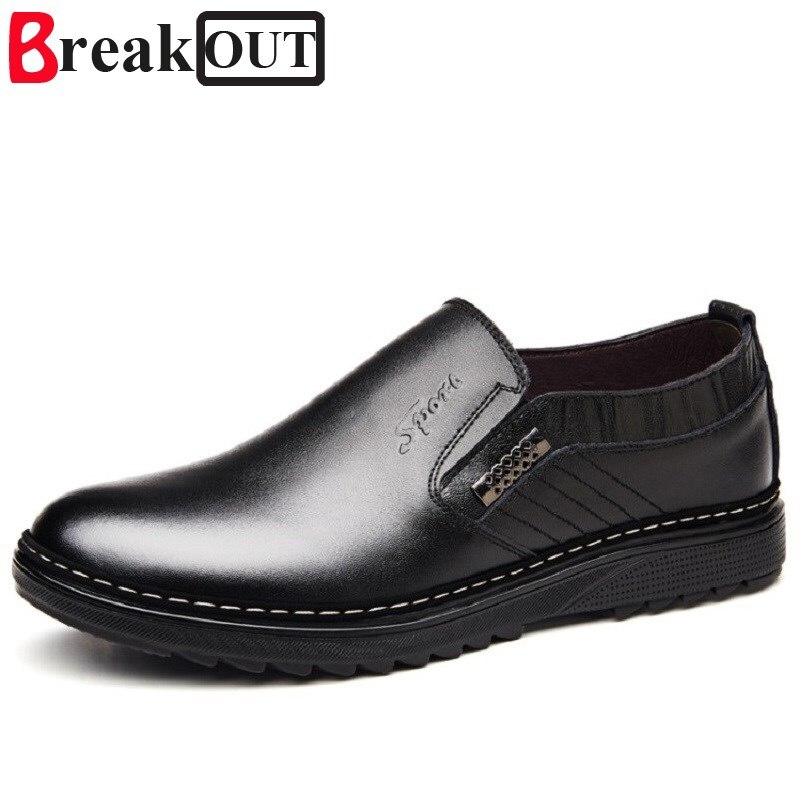 Break Out Men Oxfords for Men Dress Shoes Business Genuine Leather Breathable Spring Summer Fashion Men