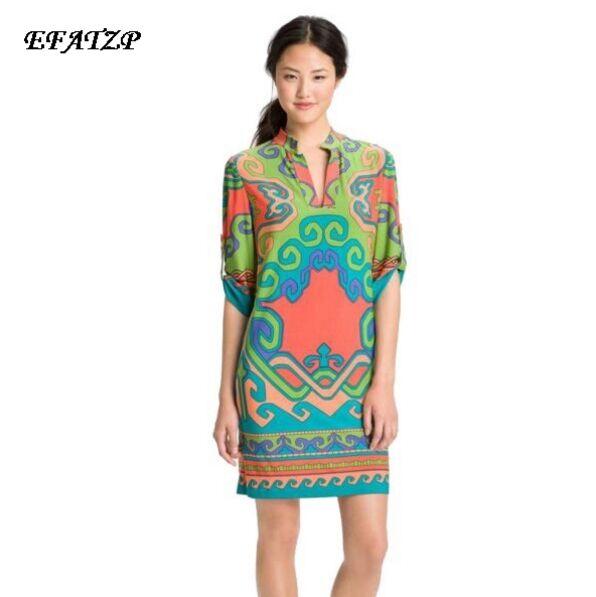 Top Fashion Half mouwen Stand Kraag Geometrische Print Jersey Silk Knielengte Stijlvolle Zomerjurk-in Jurken van Dames Kleding op  Groep 1