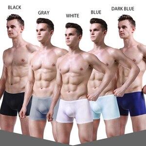 Image 3 - Men Boxer Shorts Sexy Underwear Ice Silk Male Panties Plus size Cueca Masculina Hombre Slips man Penis Pouch 4Pcs\lot Boxers