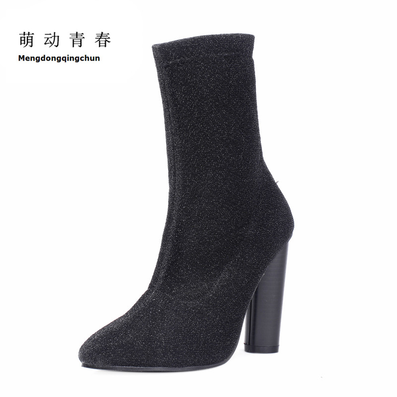2018 Fashion Women Boots Pointed Toe Autumn Winter Ankle Boots High heel shoes Women Flock Boots Thick Heel Botas size 32 43 autumn winter women ankle boots high heel buckle boot platform round toe sexy boots thick heels flock shoes g254