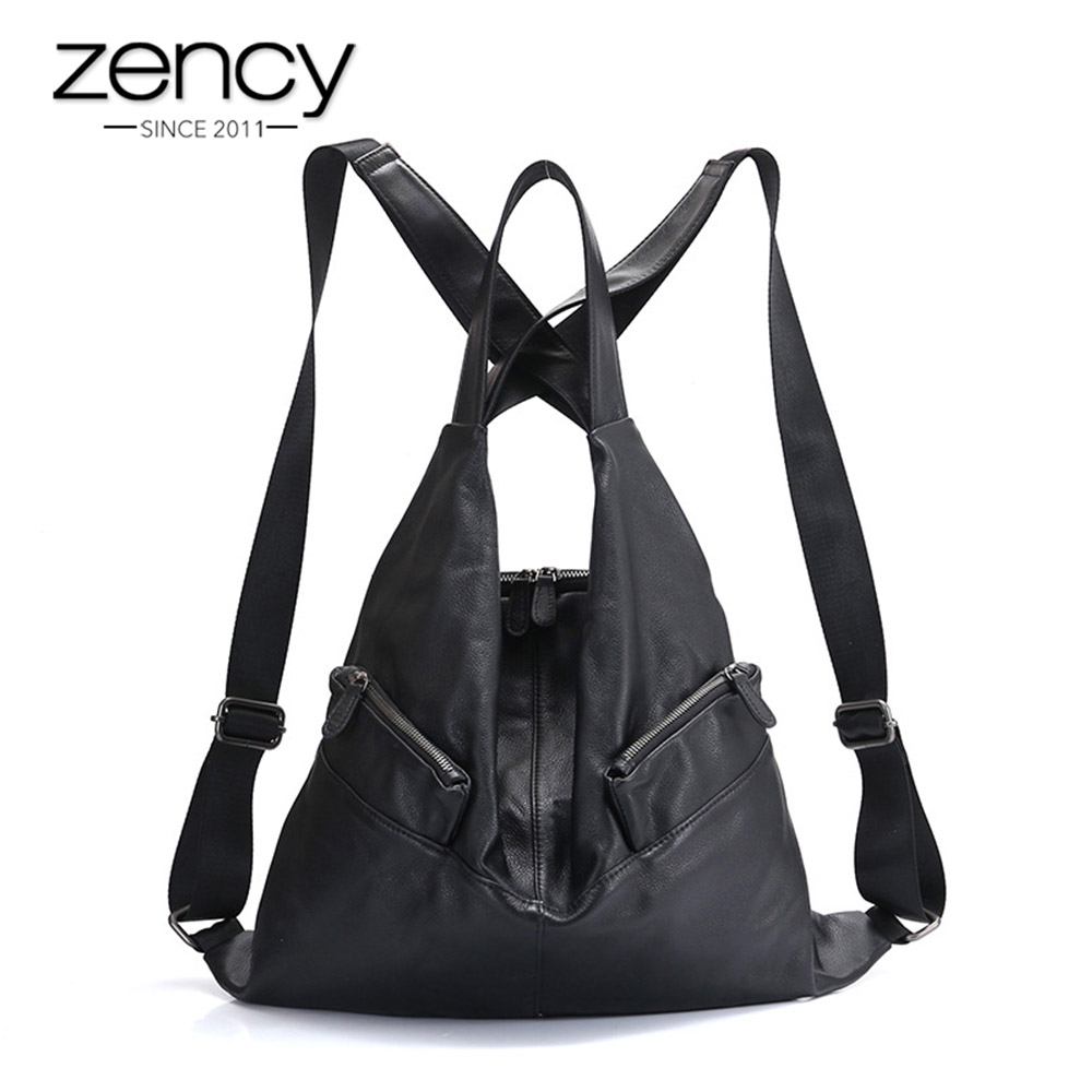 Zency Unique Style Women Backpack 100 Cowhide Genuine Leather Fashion Travel Bag Black Lady Knapsack Girl
