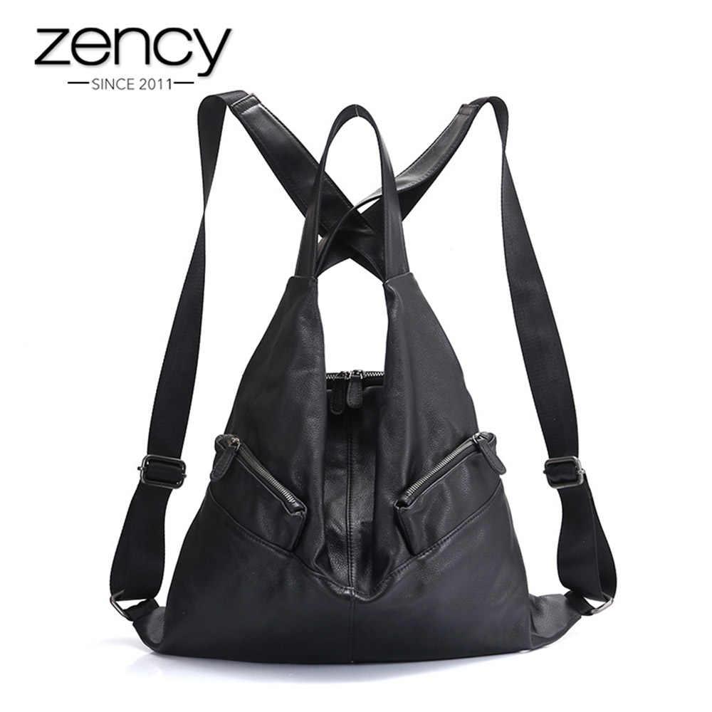 Zency уникальный стиль женский рюкзак 100% воловья Натуральная Кожа Модная дорожная сумка черный женский ранец для девочек школьный ноутбук