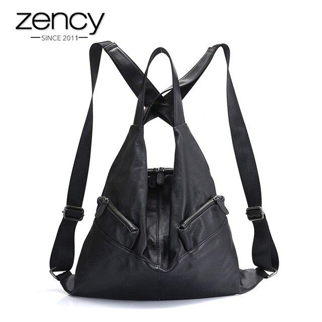 Zency Unique Style Mulheres Mochila 100% Saco de Viagem Do Couro Genuíno Couro Moda Preto Senhora Mochila Notebook Mochila da Menina