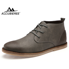 ALCUBIEREE Autumn Mens Chukka Boots Winter Warm Fur Shoes Vintage Pointed Toe Derby Boot Casual Lace-up Comfort Leather Shoes