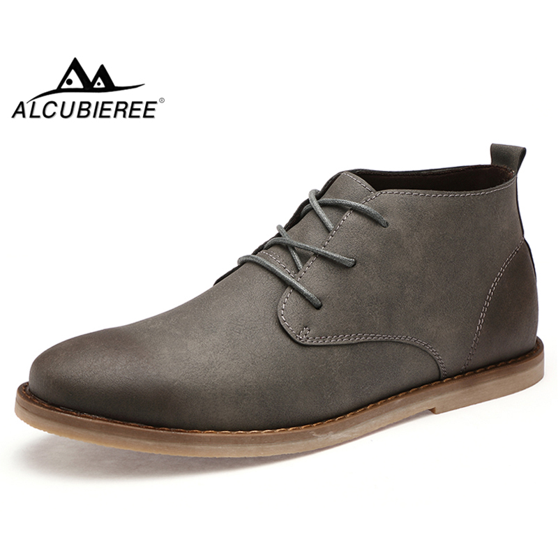 ALCUBIEREE Autumn Mens Chukka Boots Winter Warm Fur Shoes Vintage Pointed Toe Derby Boot Casual Lace up Comfort Leather Shoes