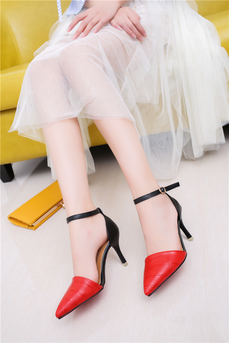 Punta amarillo Cuero 39 Mixtos 34 Zapatos Tacón De 2017 Vestir Pu Tamaño Estrecha Alto Mujer Negro G007 Colores rojo 4q8WU