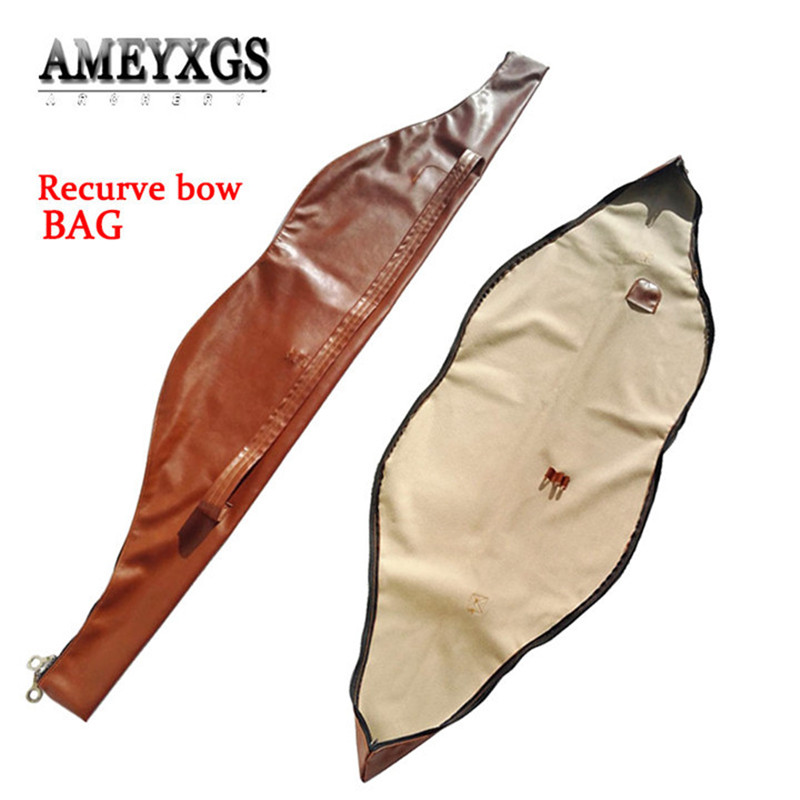 """47/"""" Archery Traditional Recurve Bow Carry Bag Case Cover PU Leather Holder Brown"""