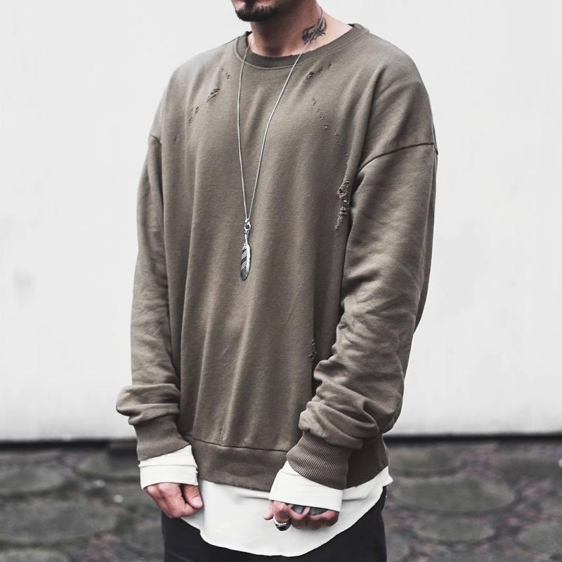 US $28.06 20% OFF|High Street OVERSIZE Wormhole Loch Herren Pullover Sweatshirts Hip Hop Oliven Mode Casual Pullover Zerrissene Skateboard