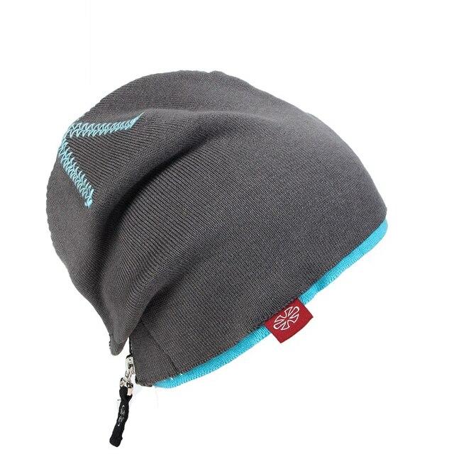 CN-RUBR Double Zipper Hip Hop Ski Cap Knitted For Male Female Punk Wool Hat Novelty Fashion Warm Balaclava Skull Ski Mask Hat