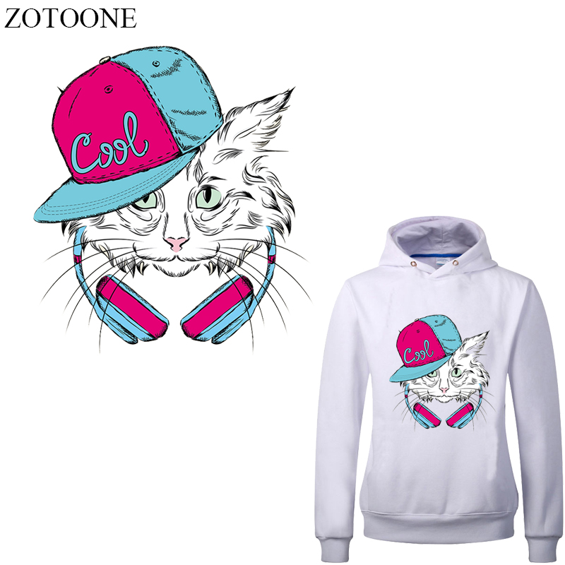 ZOTOONE Iron on Music Cat Patches for Clothing Applique Heat Transfer Vinyl Stickers DIY T-shirt Iron-on Transfers Thermal Press