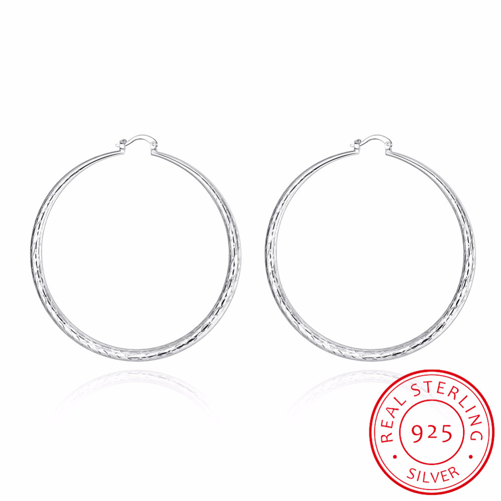 71mm Big Creole Hoop Earrings for Women 925 sterling silver fish pattern Large Round Earring European Brand Fine Jewelry Gift