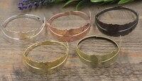 10pcs Lot Leaf Antique Bronze Gold Silver Black Bracelet Vintage Bangle Jewelry Accessories