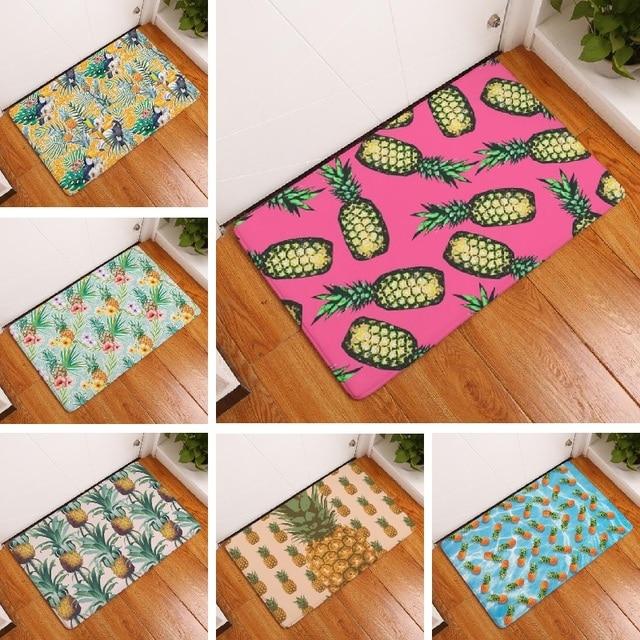 Floor Mat Ananas Pineapple Printed Suede Doormat Home Decoration ...
