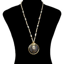 Fashion Jewelry Beads Pearl Round Necklace Pendant Women Exaggerated Personality Necklace XL663 stylish women s beads round arc necklace