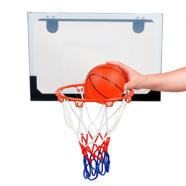 Indoor Sports Thread Basketball Hoop Kit Set Mesh Net Ball Pump Hoop Door  Mounted For Kid