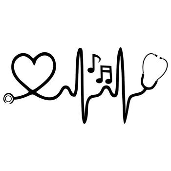 1Pc Stethoscope Music Notes Car Styling Reflective Decorative Stickers Auto Decals Waterproof fade-resistant self-adhesive 1