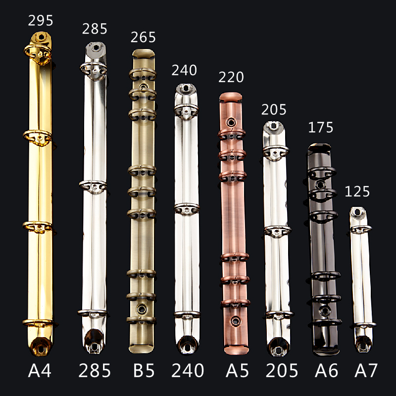 A4 B5 A5 A6 Colorful Metal Spiral Binder Clip Loose-leaf Stainless Steel Binder File Folder Diary Clips Binding Ring Iron Gold
