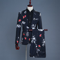 Men's digital printing groom's grooms dress suit performance, man's suit, master s club DJ studio theme suit