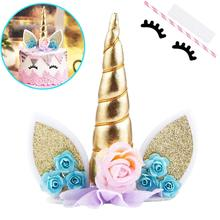 METABLE 2Pcs Unicorn Cake Topper with Eyelashes Party Decoration Supplies for Birthday Party, Wedding, Baby Shower