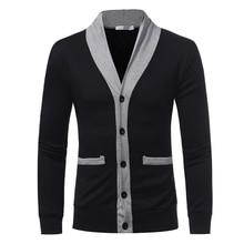 Men Sweater Brand Winter 2017 V-Neck Shawl Collar Knit Cardigan Button Knitwear Jumper Blazer Top christmas Sweatercoat Autumn