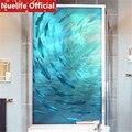 60x90cm Marine fish school pattern window film toilet living room bedroom balcony door kids room opaque frosted glass film