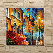 Rua Paisagem faca Pintura A Óleo Sobre Tela Pintado À Mão abstrata Moderna Wall Art imagem para Sala de estar home Decor no Emoldurado