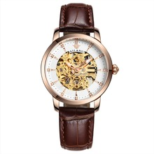 Ladies Hollow Automatic Mechanical Watches Top Brand Luxury Fashion Casual Womens Watch Diamond Leather Wristwatches Reloj Mujer
