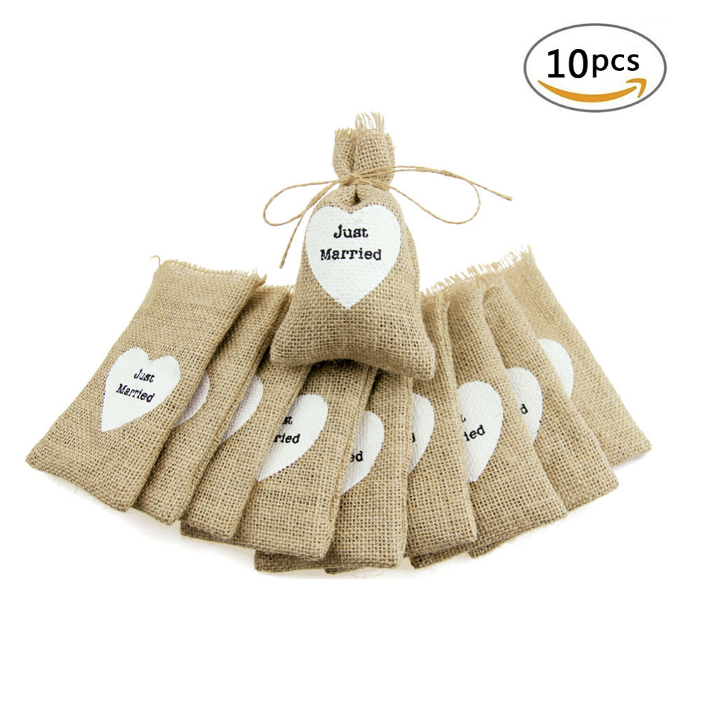 Low Budget Wedding Gifts: Aliexpress.com : Buy 10pcs Just Married Small Jute Bag