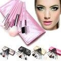 New 7 Pcs Makeup Brushes Set Fundação Sombra Blush Escova + Estojo De Couro