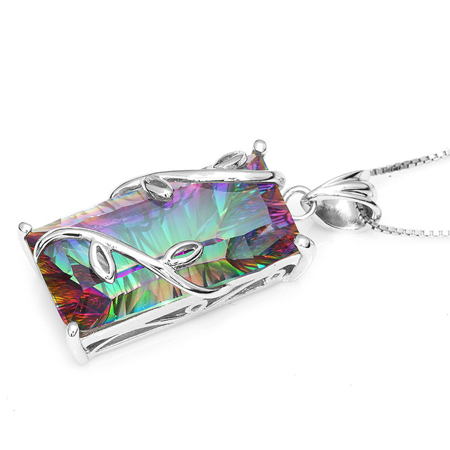 Huge 17.8ct Vintage Fashion Genuine Natural Fire Rainbow Mystic Topaz **Pendant only no chain