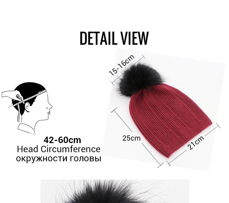 861181f5f34 Beautiful !!! Big Real Fur Pom Pom Hat Winter Womens 100% Wool Hats ...