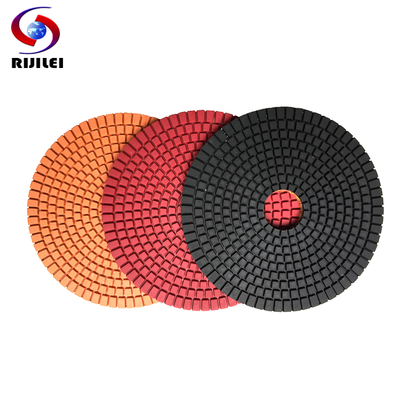RIJILEI 6inch Diamond Polishing Pad For Granite Or Concrete 150mm Flexible Wet Marble Grinding Discs Diamond Tool 6DS1