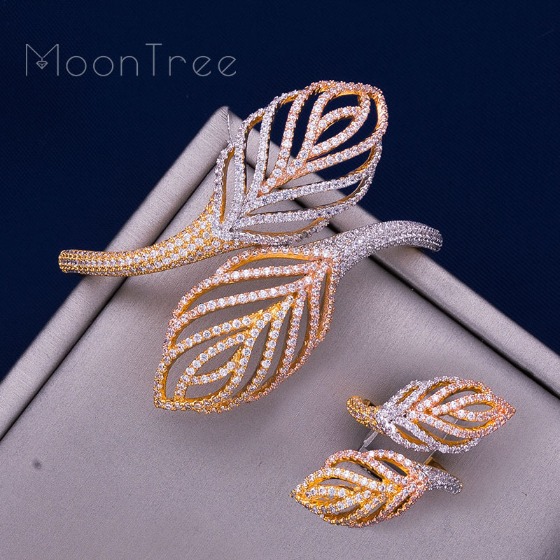 ModemAngel Luxury leaves Rhinestones Wedding Jewelry Sets Cubic Zircon Three Color Copper Feathe Shape Bracelets Bangle