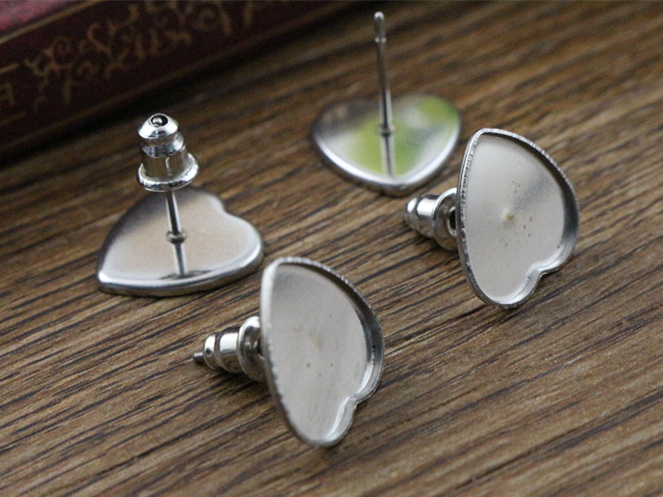 (Never Fade) 20pcs 10mm Heart Stainless Steel Earring Base Studs Ear Cameo Settings Cabochon Base Tray Blank (With Back)-T5-44