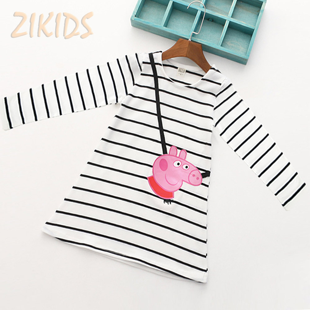 Cartoon Lovely Pink Pig Baby Girl Dress Long Sleeve Striped Kids Dresses Cotton Children Clothing Hot Sale 2017 cute baby girl dress summer 2017 cartoon pink pig short sleeve striped dresses for girls clothes kids children birthday party