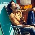 Simwood Marca 2016 de La Moda Otoño Nueva Llegada de La Manera de manga Larga Polka Dot Casual Slim Fit Camisa Masculina CS172