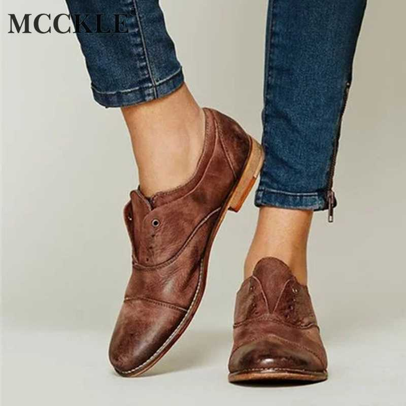 MCCKLE Women Spring Flat Shoes Plus Size Oxford Low Heels Casual Woman's Footwear Fashion 2019 Slip On Retro Sewing Female Shoe
