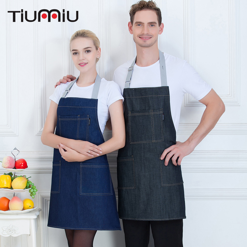 New Denim Stripe Apron With Pocket Hanging Neck Women Men Kitchen Hotel Coffee Shop Bakery Chef Waiter Cleaning Work Wear Aprons