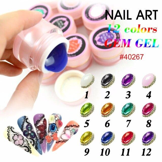 #40267 gel de color de uñas canni empapa del arte del clavo 3d gel 12 colores joya gel
