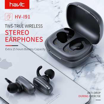 HAVIT TWS 5.0 Bluetooth Wireless Earphone Stereo life Waterproof Sport Headset with dual Microphone I91 1