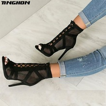TINGHON  Fashion Black Summer Sandals Lace Up Cross-tied Peep Toe High Heel Ankle Strap Net Surface Hollow Out Sandals недорого