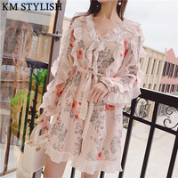 2019Zim Same Early Spring New Wooden Ear V neck Print Elasticated Waist Playsuits Chiffon Lace Jumpsuit Shorts with Belt