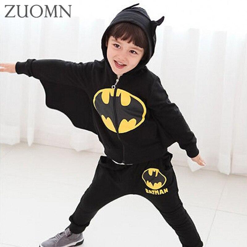 2017 children clothing suits Cartoon batman costume kid shoodies pants children sports suit boys clothes YL451